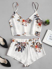 Dos Piezas Top Conjunto Cami Floral De Blanco Shorts M C5YqzCXxwn