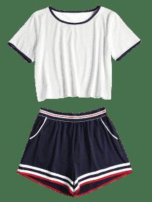 Elastic Blanco Ringer Dos Shorts Set Y De Piezas Tee L pEqUE8