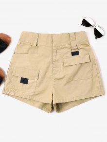 ارتفاع الخصر جيوب السراويل - ضوء الكاكي L