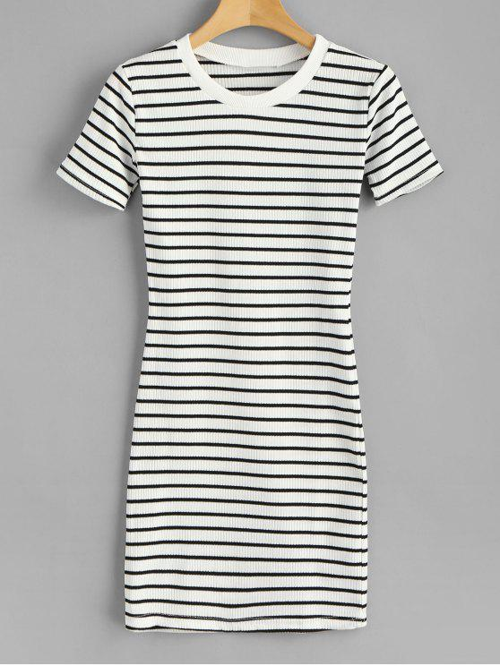 a6d3b2a49fcb 32% OFF  2019 Striped Ribbed Mini T-Shirt Dress In WHITE