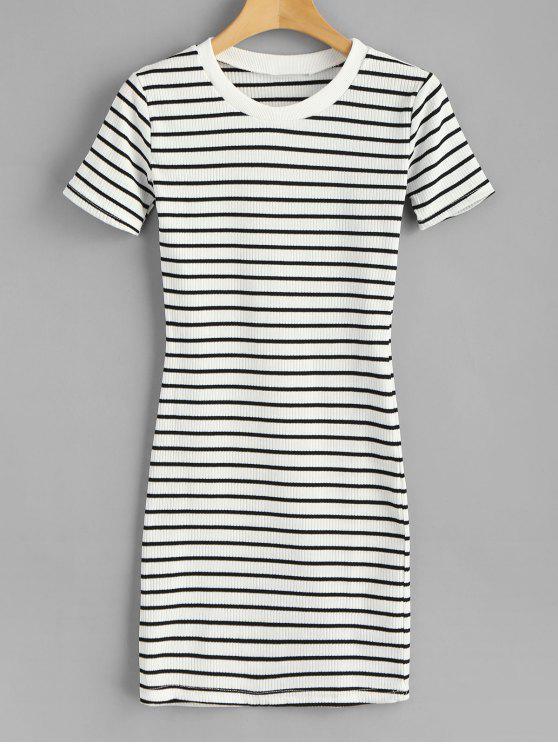 مخطط مضلع ميني تي شيرت اللباس - أبيض حجم واحد