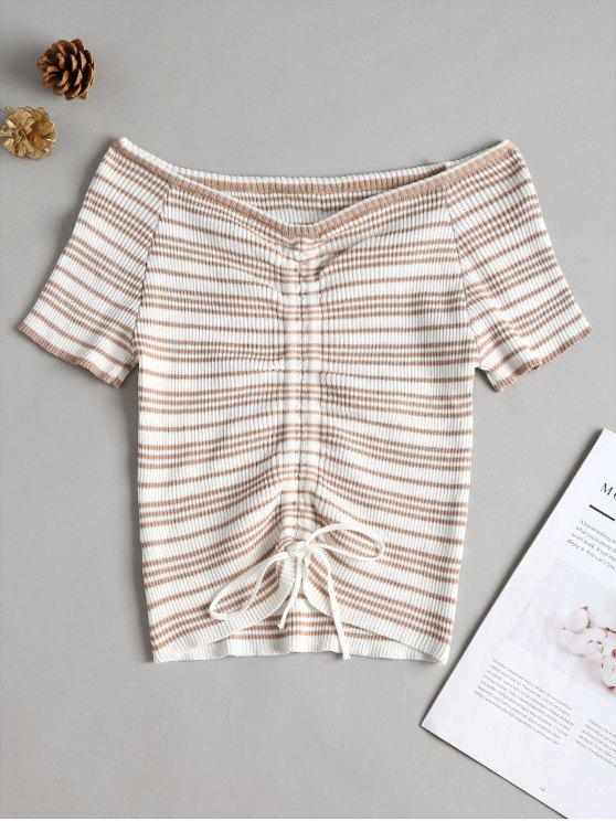 Ruched Front Striped Ribbed Top - ضوء الكاكي مقاس واحد