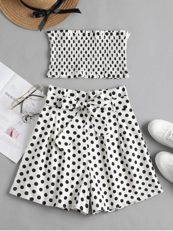 ladies Smocked Polka Dot Shorts Set - WHITE L