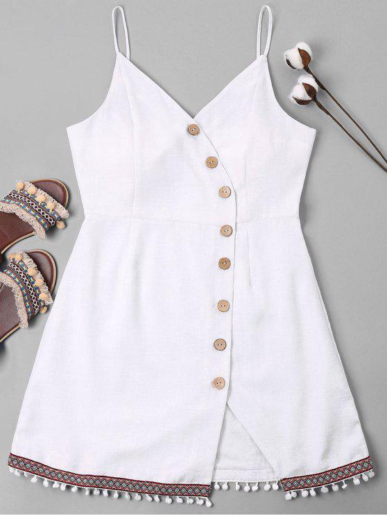 sale Pompom Trim Cami Button Up Dress - WHITE XL