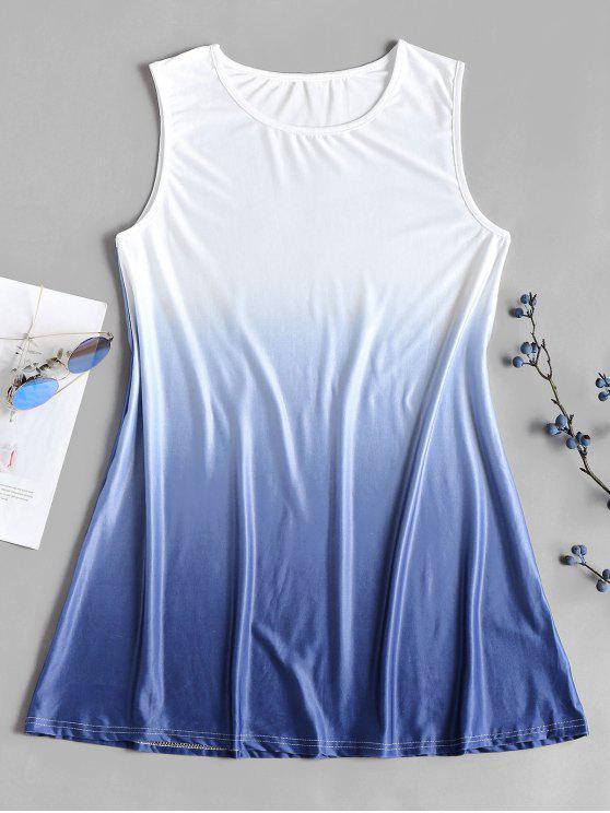 Mini vestido de cambio de túnica color Ombre - Blanco S