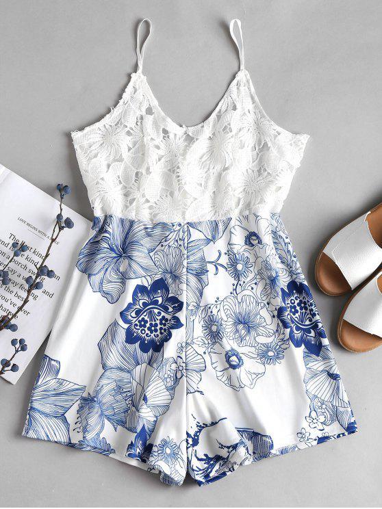 women Crochet Bodice Floral Cami Romper - WHITE M