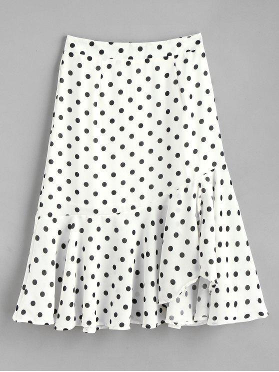 تنورة بولكا دوت كشكش ميدي - أبيض XL
