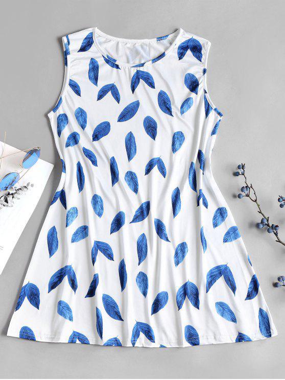 Vestido de minifalda con estampado de hojas de una línea - Azul S