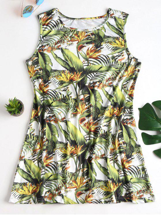 womens Tropical Print Mini Tunic Sun Dress - GREEN L