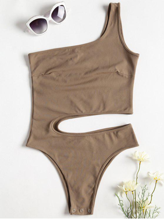 chic One Shoulder Cut Out Bodysuit - CAMEL BROWN S