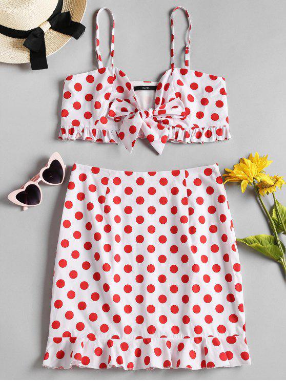 women Polka Dot Top Mini Skirt Two Piece Dress - RED XL