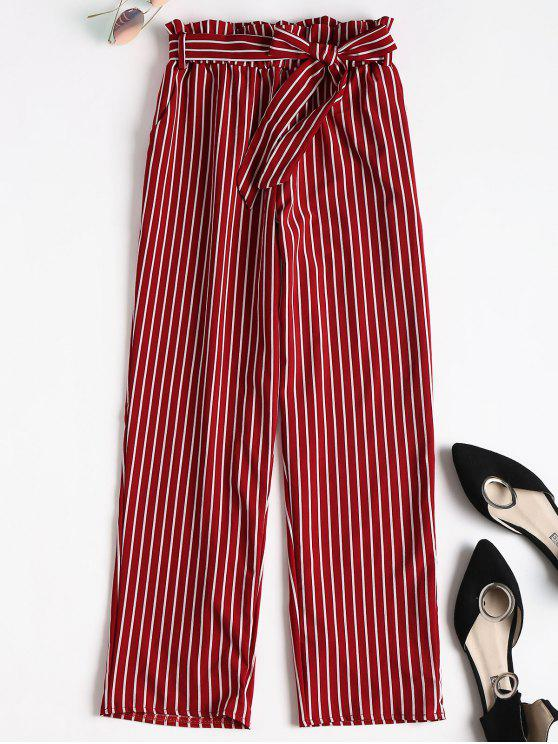 online Ninth Striped Paper Bag Pants - RED S