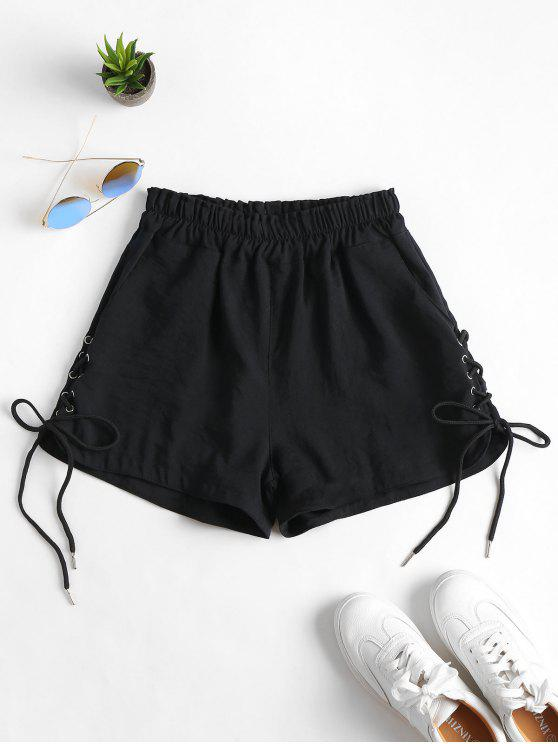 hot Pockets Lace Up High Waisted Shorts - BLACK XL