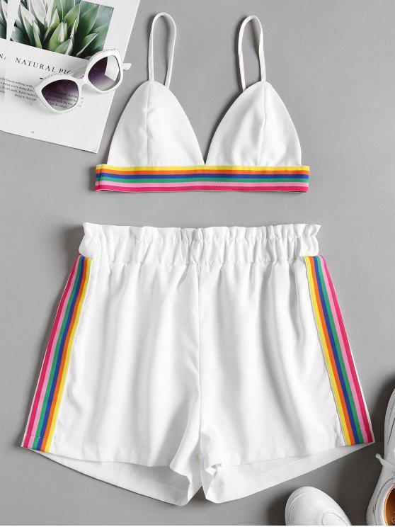 Bralette Colorful Striped Top y Shorts Set - Blanco L