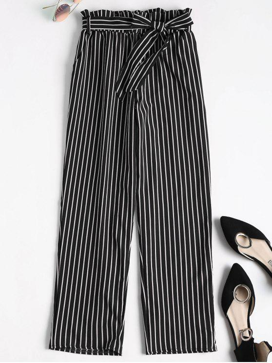 shop Ninth Striped Paper Bag Pants - BLACK S