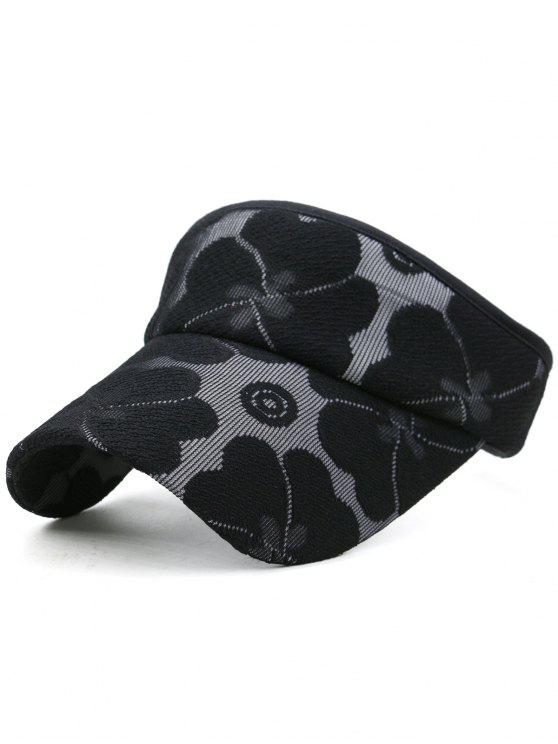 sale Floral Embroidered Open Top Sun Hat - BLACK