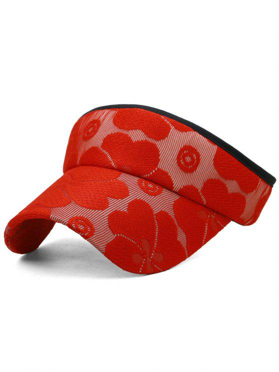 womens Floral Embroidered Open Top Sun Hat - LOVE RED
