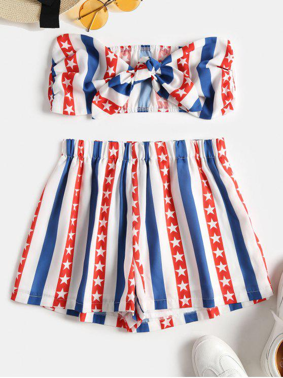 chic Knotted American Flag Top and Shorts Set - MULTI M