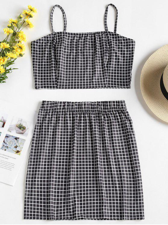 affordable Checked Jersey Top and Skirt Two Piece Set - MULTI-B M