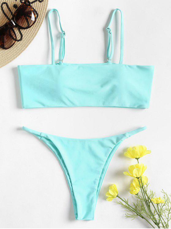 Conjunto de bikini de tanga de talle bajo acolchado - Azul Eléctrico L