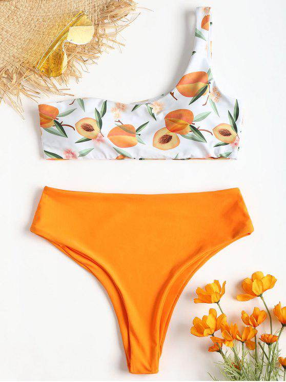 online One Shoulder Peach Print Bikini - DARK ORANGE L