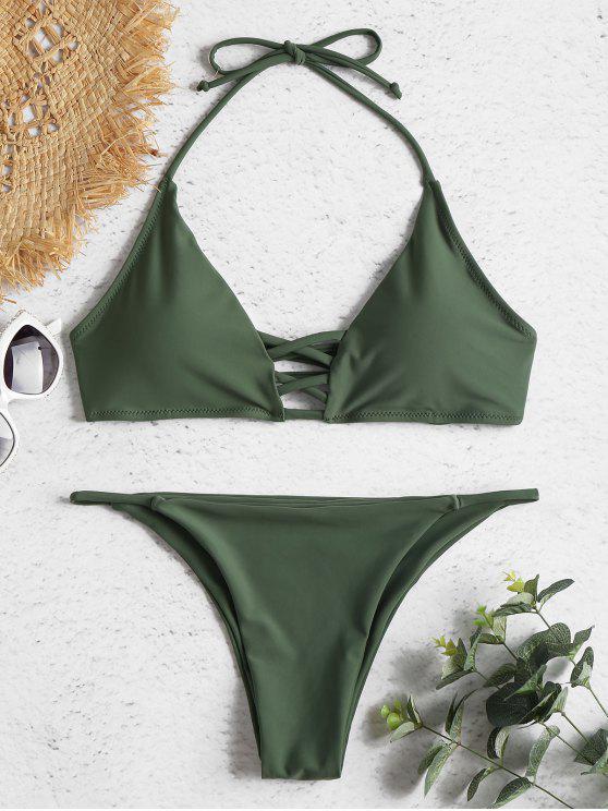 5634e2e7e4c 23% OFF] [POPULAR] 2019 Strappy Halter Bikini Set In DARK SEA GREEN ...