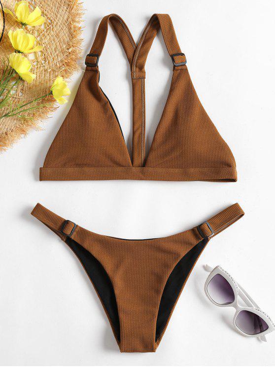 Gerippter Y-Linie Niedrige Taille Bikini - Braun L