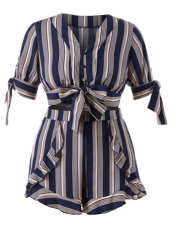 online Plus Size Striped Bowknot Shorts Set - DARK SLATE BLUE 4X