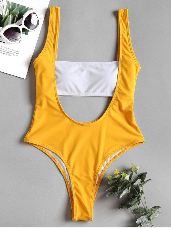 Traje de baño de corte bajo con top de Bandeau - Amarillo Brillante L