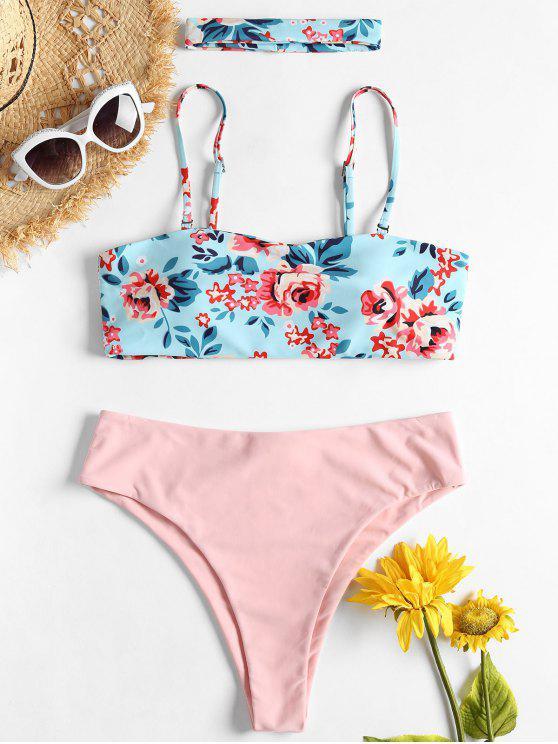 Bikini A Fascia Floreale Con Choker - Blu Chiaro L