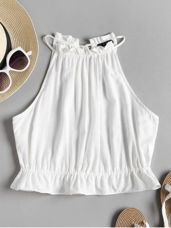 outfits Ruffles Crop Tank Top - WHITE S