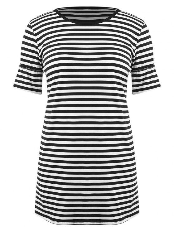 2018 Striped Plus Size T Shirt Dress In Black 3x Zaful