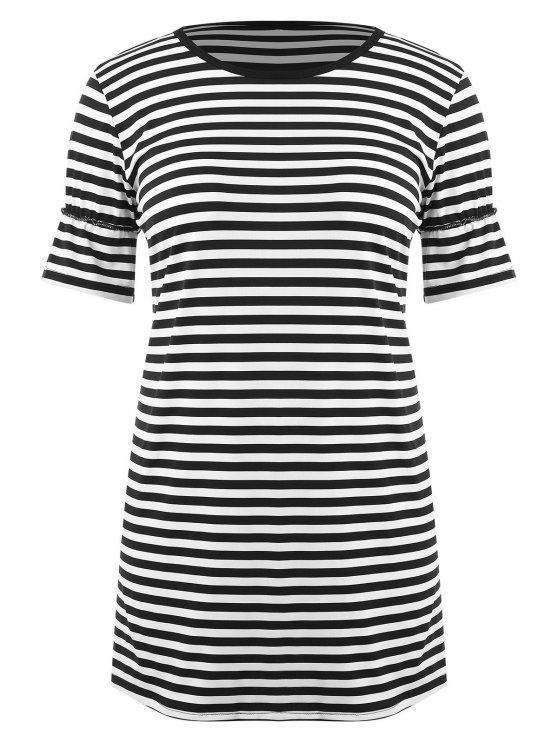 مخطط بالاضافة الى حجم القميص اللباس - أسود 2X