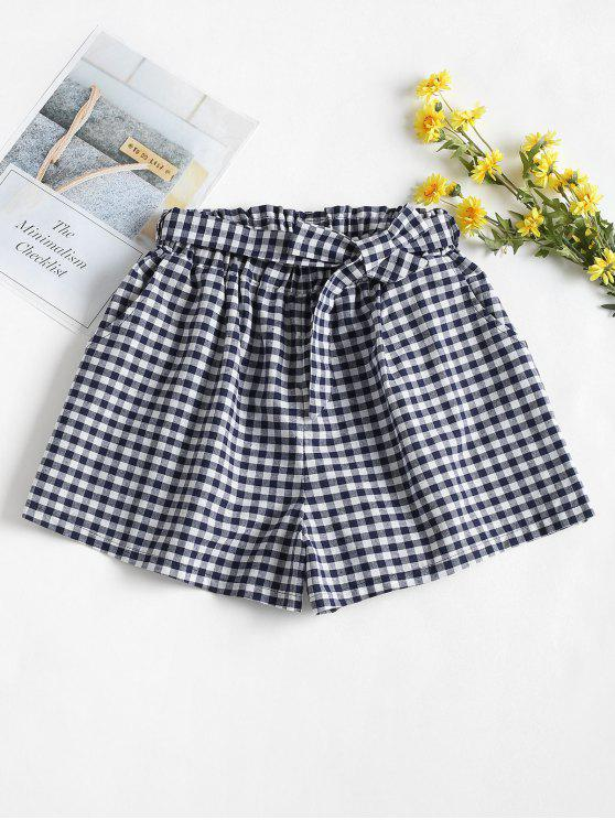 outfit High Waisted Gingham Paper Bag Shorts - MULTI-A S