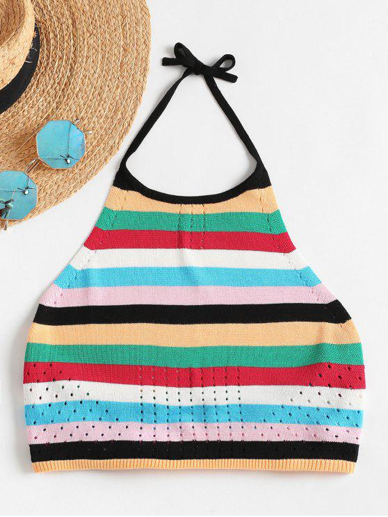 outfit Striped Colored Halter Crop Top - MULTI L