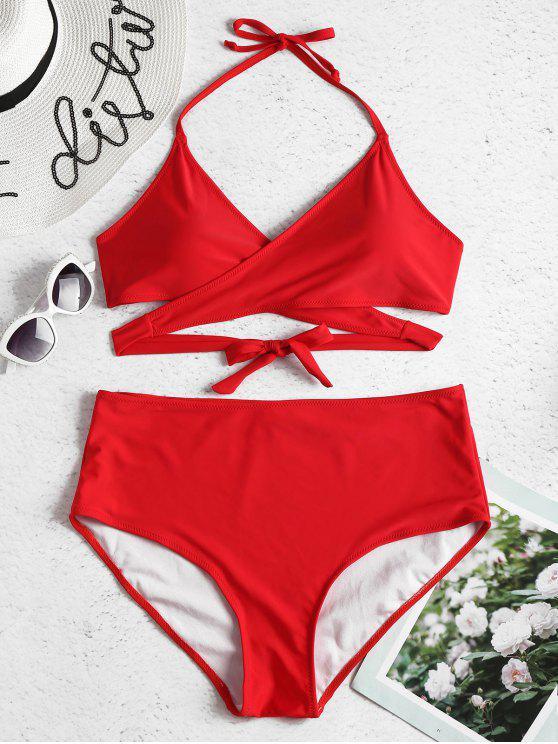 Übergroße Hohe Taille Wickel Bikini Set - Lava Rot 2X