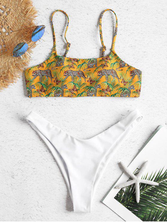 Bikini A Gamba Alta Con Stampa Leopardata In Contrasto - Oro d'arancio M