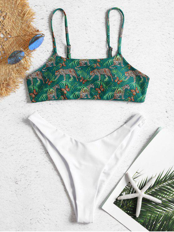 outfit Contrast Leopard High Leg Bikini - DEEP GREEN M