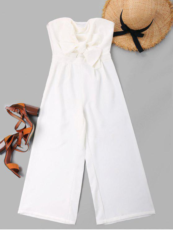 shops Bowknot Tube High Waisted Jumpsuit - WHITE L