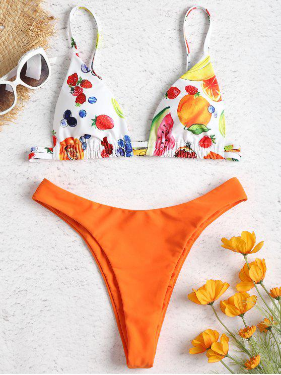 latest High Leg Fruit Print Bikini - DARK ORANGE S
