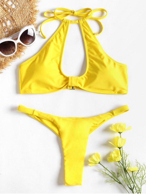 women Cut Out Halter Thong Bikini - YELLOW L