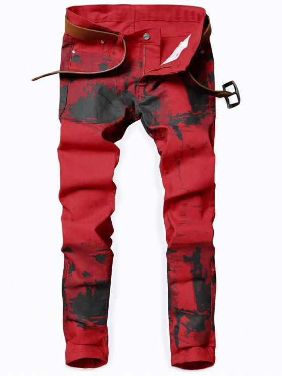hot Splash-ink Print Slim Fit Jeans - LAVA RED 36