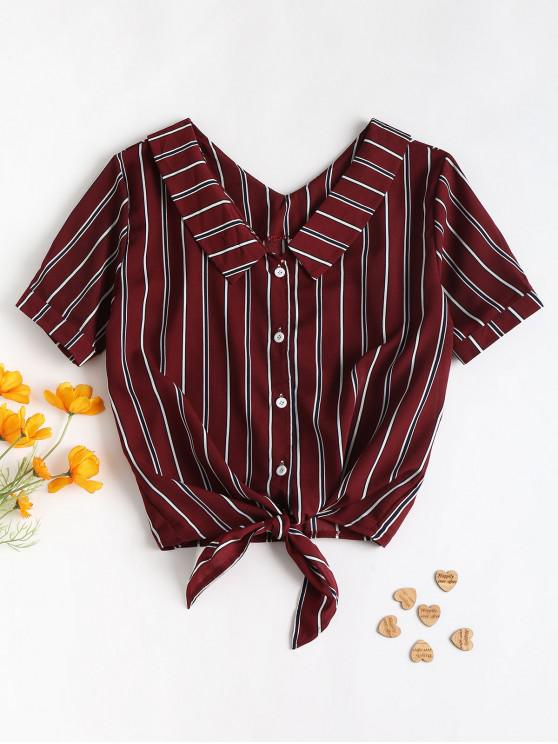 outfits Fold Over Tie Front Striped Casual Shirt - RED WINE XL