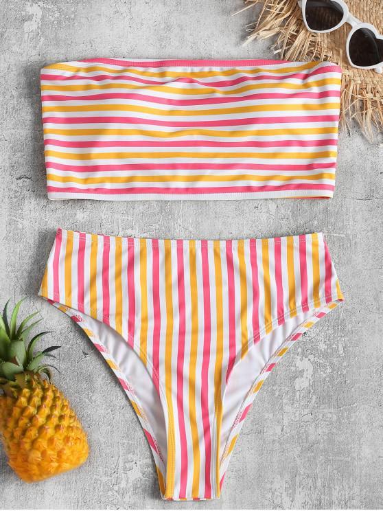 Top de tubo a rayas con bikini de corte alto - Multicolor S