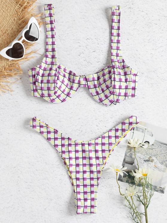 Colorido conjunto de bikini con aros a cuadros - Multicolor L