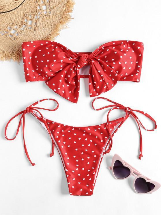 sale Bandeau Heart Bowknot Bikini Set - RED L