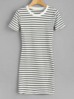 Striped Ribbed Mini T-Shirt Dress - White