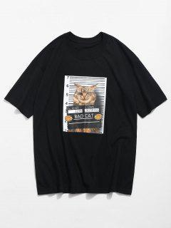 3D Cat Print Casual Tee - Black L
