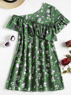 Floral Print One Shoulder Mini A Line Dress - Green Xl