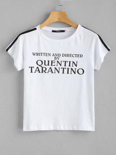 Gestreiftes T-Shirt Mit Aufdruck Und Aufdruck - Weiß L